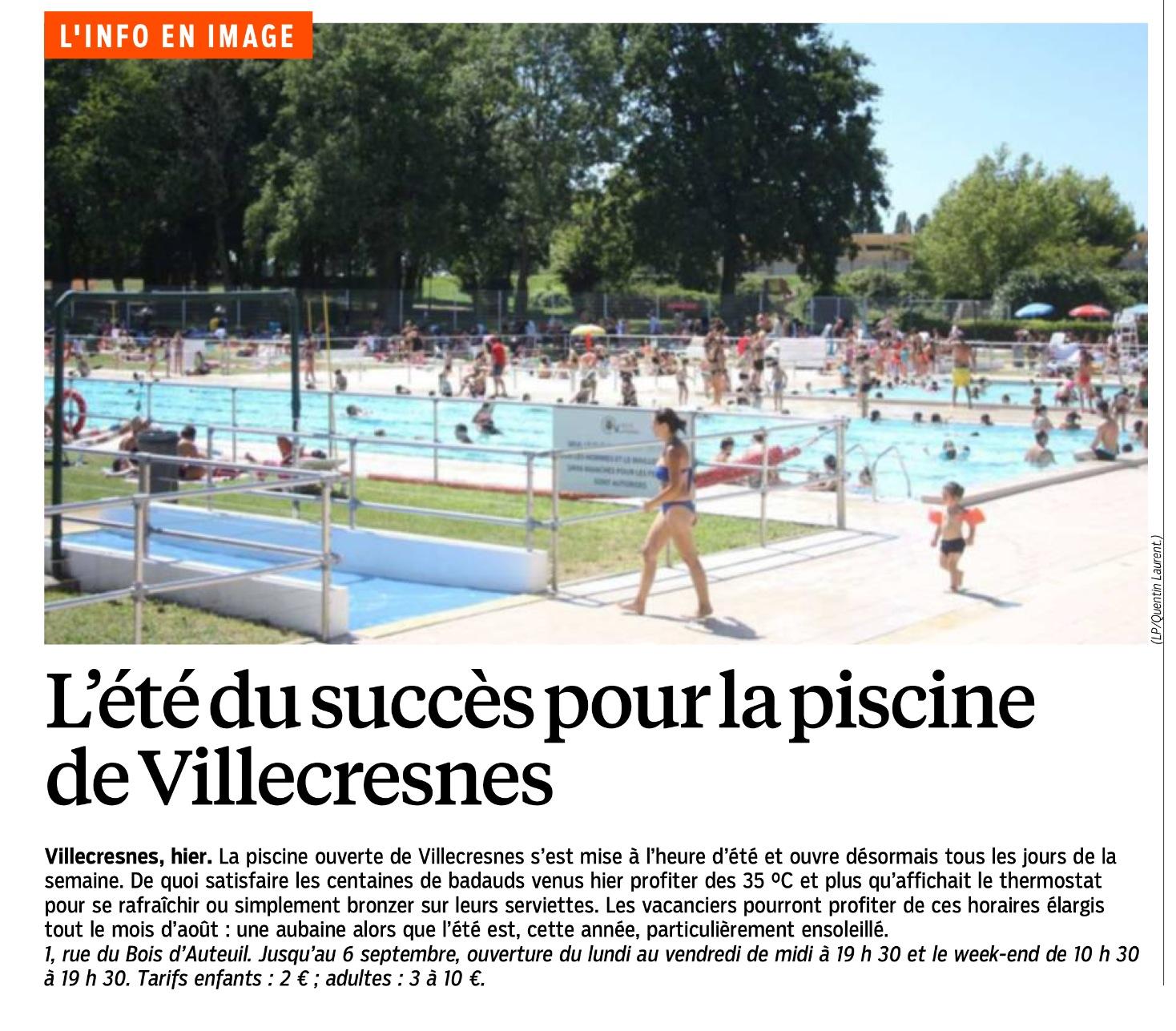 Le parisien en parle l 39 t du succ s pour la piscine de for Piscine villecresnes
