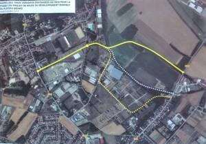Rappel des 3 variantes envisagées en 2010 pour la phase 1 du projet de route du développement durable du Plateau Briard